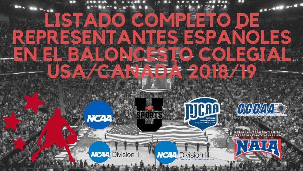 Listado completo de representantes españoles en el baloncesto colegial USA/Canadá 2018/19