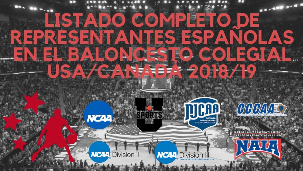 Listado completo de representantes españolas en el baloncesto colegial USA/Canadá 2018/19