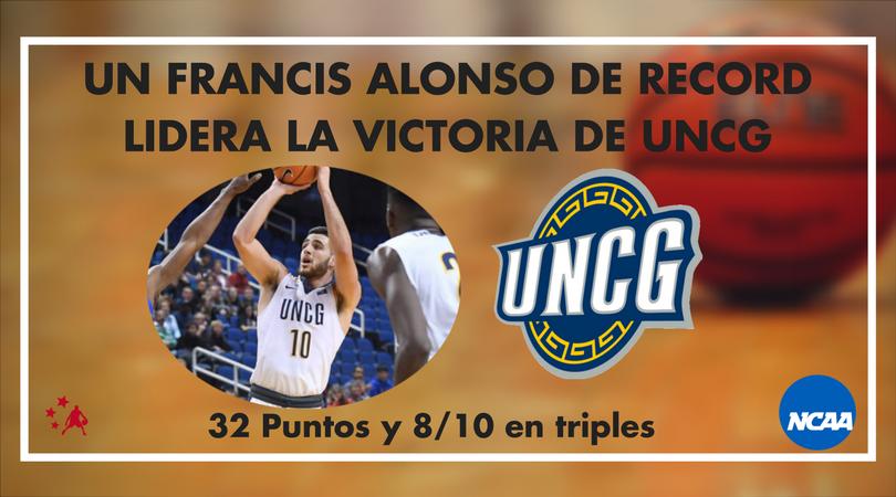 Un Francis Alonso de record (32 puntos) guía a UNC Greensboro a la victoria